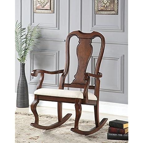 ACME Sheim Beige Fabric And Cherry Rocking Chair