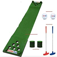 PutterBall Golf Beer Pong Game Set The Original - Includes 2 Putters, 2 Golf Balls, Green Putting Beer Pong Golf Mat, Golf Hole Covers - Best Backyard Party Golf Game Set