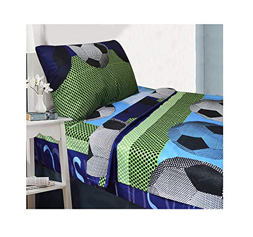 All American Collection 4 Piece Full Size Soccer Comforter Set with Furry Friend (4PC FULL ()