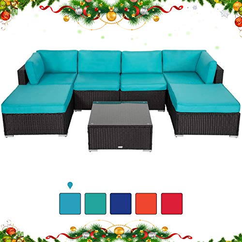 Peach Tree 7 PCs Outdoor Patio PE Rattan Wicker Sectional Sofa Furniture Set with 2 Pillows and Tea Table (Own Sectional Your Sofa Make)