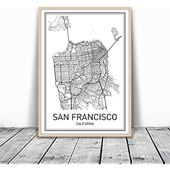 Amazoncom San Francisco Map Illustration Art Canvas Wall Art