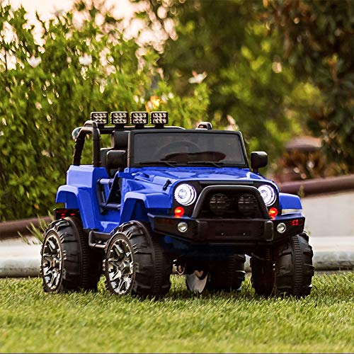 Best Choice Products Kids 12V Ride On Truck w/ Remote Control, 3 Speeds, LED Lights, AUX, Blue