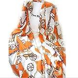 DDU Women Lady Vintage Chain Shackle Wheel Print Shawl Scarf Wrap Stole Muffler Orange