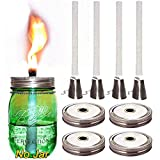 4 Pack Glass Mason Jar Tiki Table Torch,Mosquito