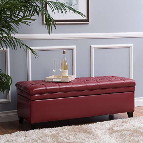 Tufted Leather Storage - Laguna Living Room Furniture ~ Tufted Faux Leather Storage Ottoman (Red)