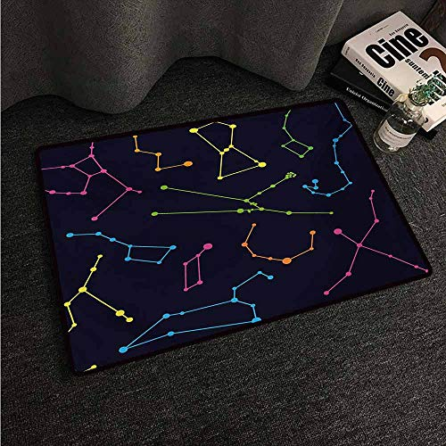 HCCJLCKS Door mat Constellation Colorful Astronomic Illustration Science Ursa Major Minor Polaris Celestial Super Absorbent mud W20 xL31 Multicolor