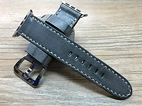 Apple Watch Band | Apple Watch Strap | Vintage gray fading color leather watch Strap For Apple Watch 38mm & Apple Watch 42mm - Series 1 and Series 2, iwatch, (Rolex Color)