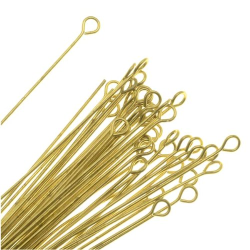 Beadaholique Open Eye Pins, 2 Inches Long and 22 Gauge Thick, 50 Pieces, Solid Brass