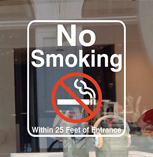 No Smoking Within 25 Feet of Entrance Vinyl Decal Sticker Business Sign Window Office Door Building Retail Store (Size: 5.5