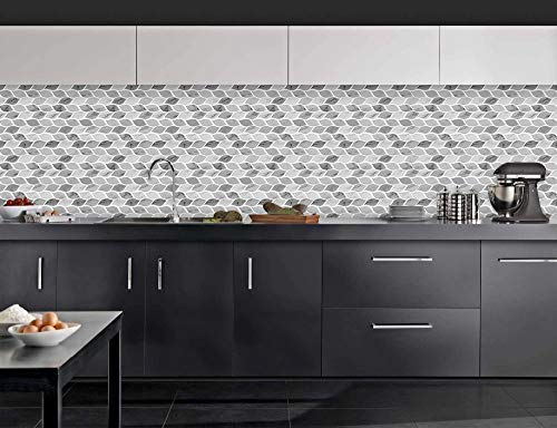 Tic Tac Tiles - Premium Anti Mold Peel and Stick Wall Tile Backsplash in Foglia Design (Grigio, 6) by Tic Tac Tiles (Image #6)