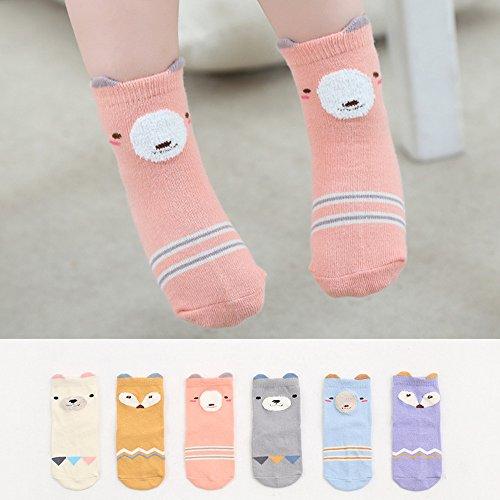 Baby Toddler Boys Girls Socks, Kids Anti Slip Cartoon Animal 6 Pairs Cotton Stockings (0-2 Years) by NUZIKU (Image #1)