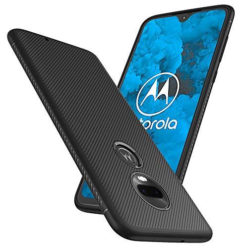 Slinco Moto G7 Case, Motorola G7 Case Flexible Soft TPU Slim Light Rugged Durable Armor Snugly Fit Case for Motorola Moto G7 (Black)