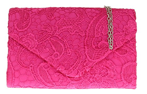 champagne Lace Bag Clutch Fuchsia Girly Handbags Satin z1wWqvWB7