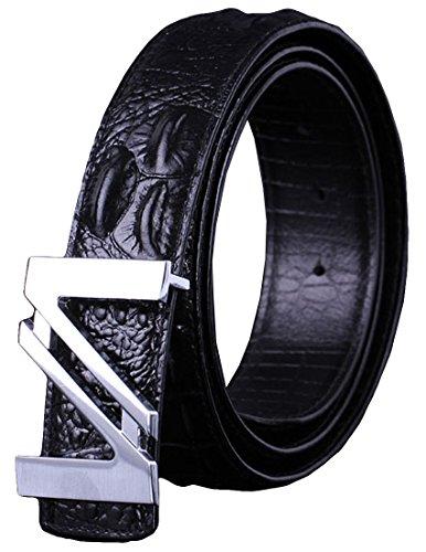 Craftsman Black Belt (Nidicus Men's Unique Casual Metal N-Buckle Full Grain Alligator Leather Belt Black)