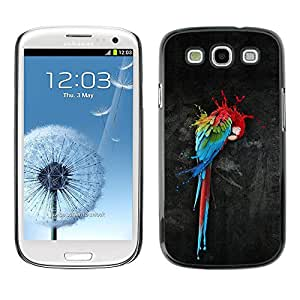 Caucho caso de Shell duro de la cubierta de accesorios de protección BY RAYDREAMMM - Samsung Galaxy S3 I9300 - Parrot Art Colorful Painting Watercolor Bird Art