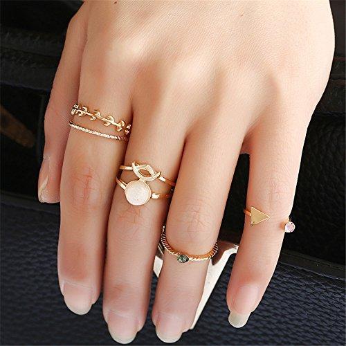 Lureme Vendimia hoja de oro triángulo resina conjunta nudillo anillo de anillos de Midi de 5 anillos (rg001834)
