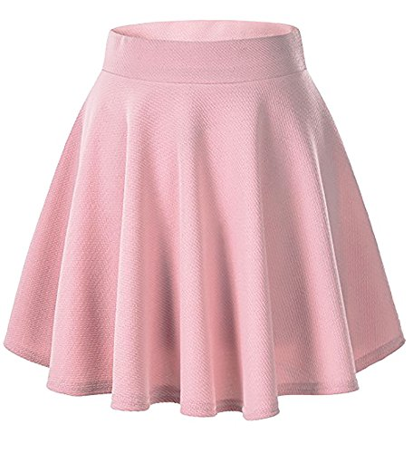 Moxeay Women's Basic A Line Pleated Circle Stretchy Flared Skater Skirt (Small, Pink)