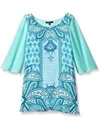 My Michelle Big Girls' Printed Shift Dress with Solid...