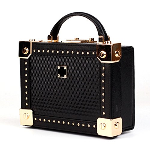 Crossbody Handmade Handbag Actlure Leather Clutch Cow Box Shoulder Purse Black Women Vintage Genuine gHU0BH