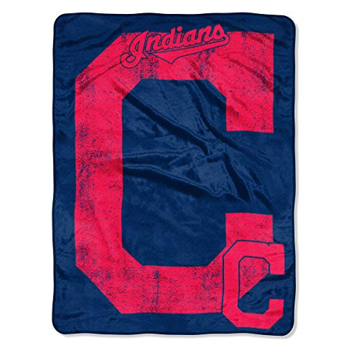 Officially Licensed MLB Cleveland Indians Triple Play Micro Raschel Throw Blanket, 46