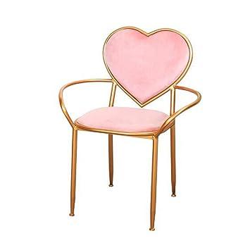 MEI XU Nordic minimalista rosa en forma de corazón silla de ...