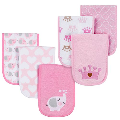 Gerber Baby Girls 6 Pack Burp Cloths, Elephant/Royal, One Size from Gerber