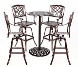 HOMEFUN Outdoor Swivel Bar stools Bistro Pub Table Set Cast Aluminum Bar Height Patio Set of 5(Antique Bronze)