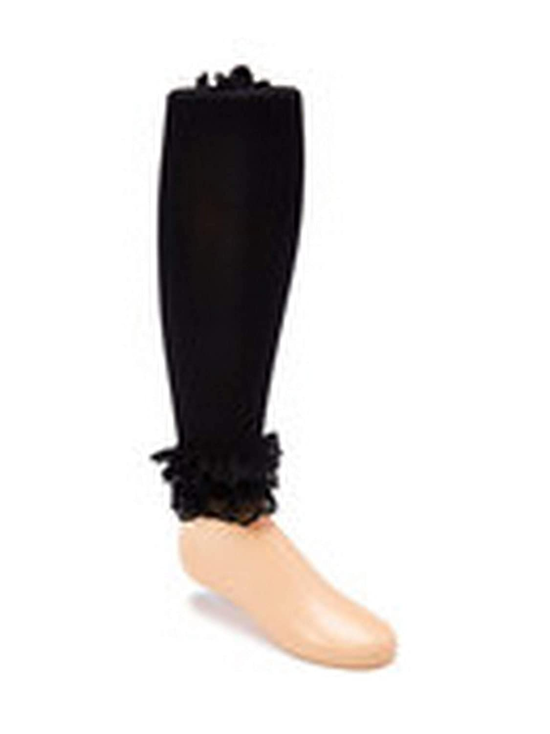 Wenchoice Girls Black Solid Color Ruffle Lace Trim Stylish Tights 1-15