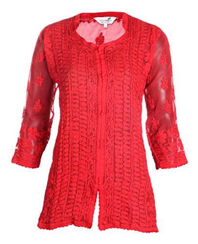 Indiankala4U - Camiseta de manga larga - para mujer Rosso