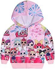 AmzKids Toddler Girl Hoodie Zip Up Sweatshirt for Girls Princess Pullover Outwear Kids Jacket Coat