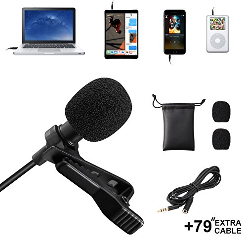 Eocean Professional Grade Lavalier Lapel Microphone ­ Omnidirectional Mic with Easy Clip On System ­Perfect for Recording Youtube/Interview/Video Conference/Podcast/Voice Dictation/iPhone