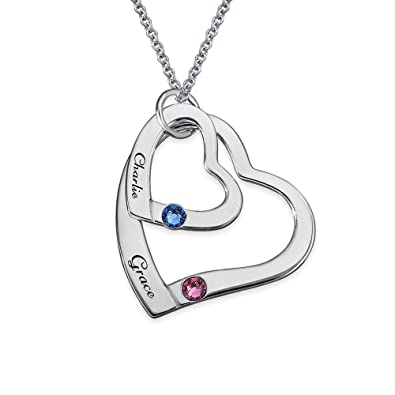 Floating Heart in Heart Necklace in Sterling Silver with Birthstones - personalised & Custom Made DJJU6