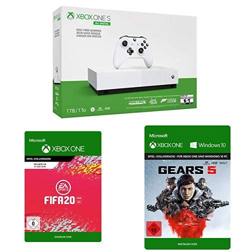 [amazon.de] Xbox One S 1TB All Digital Edition + Gears of War 5 + FIFA 20 + 3 Games um 190€ anstatt 250€