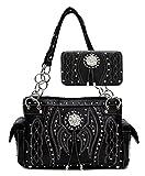 Western Ostrich Handbag Wallet Set, Concho, WBBA3-846-SET (Black)