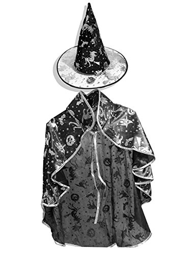 SUMMEE Halloween Costumes Witch Wizard Cloak With Hat For Toddlers Kids Girls Boys Christmas Gift Black Silver