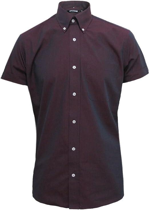 Relco Men/'s Long Sleeved Burgundy//Black Tonic Mod Retro Shirt S to 3xl