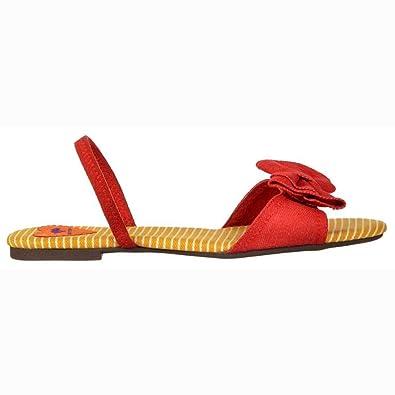 9820ba12970 Rocket Dog Women s Babydoll Strappy Sandals - Bow Detail Shoes - Red Denim  UK3 - EU36