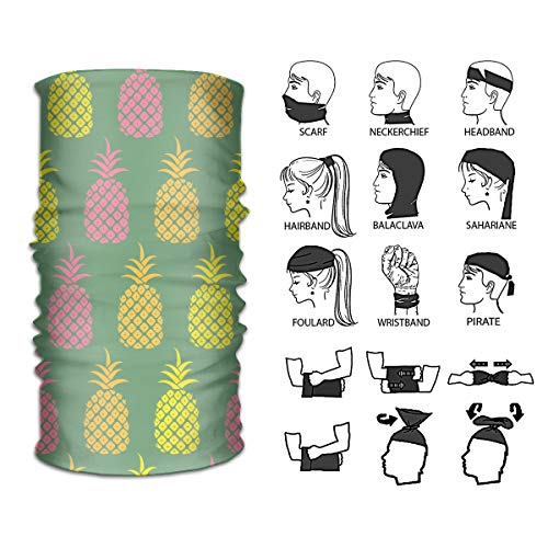 Ivanfield Colorful Pineapple Green Back Outdoor 12 in 1 Multi Function for Women and Men Magic Headband