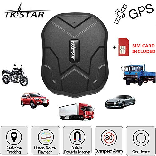 GPS Tracker Waterproof Real Time Vehicle GPS Locator Hidden Anti Theft Alarm Car Tracking Device Strong Magnet for Motorcycle Trucks Support Android and iOS TK905 with Card