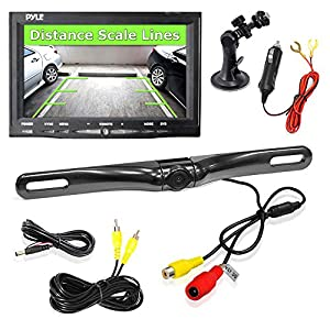"Pyle Car Backup Camera Rearview Mirror Screen | Reverse Parking Sensor | HD 7"" LCD Screen Monitor 
