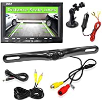 Pyle Car Backup Camera Rearview Mirror Screen | Reverse Parking Sensor | HD 7 LCD Screen Monitor | Distance Scale Line | Waterproof | Night Vision | 170 Wide Angle Lens | Swivel Angle Adjustable Cam