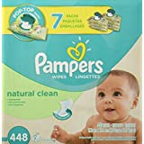 Pampers Baby Wipes Natural Clean (Unscented) 7X Pop-Top, 448 Diaper Wipes
