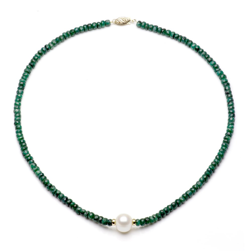 14k Yellow Gold 4mm Simulated Green Emerald 9-9.5mm White Freshwater Cultured Pearl Necklace, 18''
