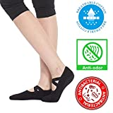 Yoga Socks for Women Non Skid Socks with Grips Barre Socks Pilates Socks for Women (black-1 pack Size 6-10)
