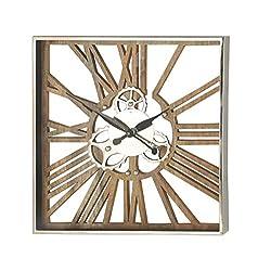Deco 79 Wall Clocks, Medium, Brown, Silver, Black