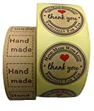 Kraft Paper Thank You Stickers, 1'' Hand Made & 1.5'' Circle Thank You Stickers – 1600 Pcs Removable and Adhesive Label Stickers for Holiday, Gift Bags, Envelopes