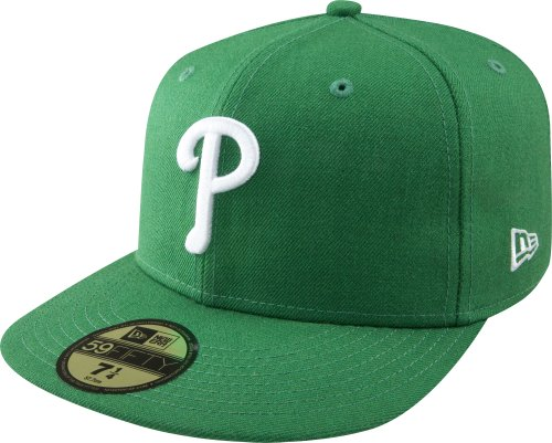 MLB Philadelphia Phillies Kelly with White 59FIFTY Fitted Cap, 7 1/2