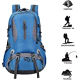 Outdoor Hiking Backpack Waterproof Camping Backpacking Bag Camp Bag for Travel Men Women Hiking Skiing Trekking Climbing Mountaineering (Blue, Lightweight)