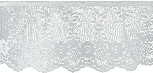 Decorative Trimmings 20157-8-018Y-001 White Ruffled Fancy Lace Trim, 3-1/8