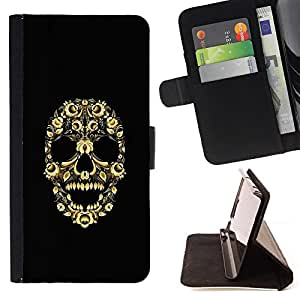 DEVIL CASE - FOR HTC DESIRE 816 - Skull Bling Floral Flowers Yellow Skeleton - Style PU Leather Case Wallet Flip Stand Flap Closure Cover